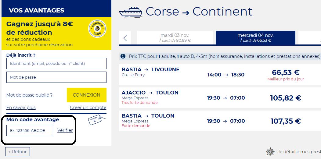 Comment utiliser un code promo Corsica Ferries valide?