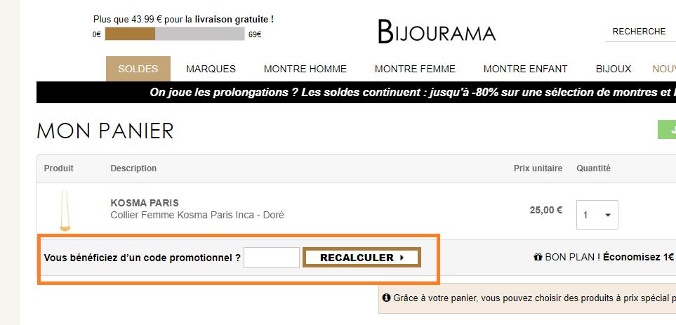 Où mettre un code promo Bijourama valide ?