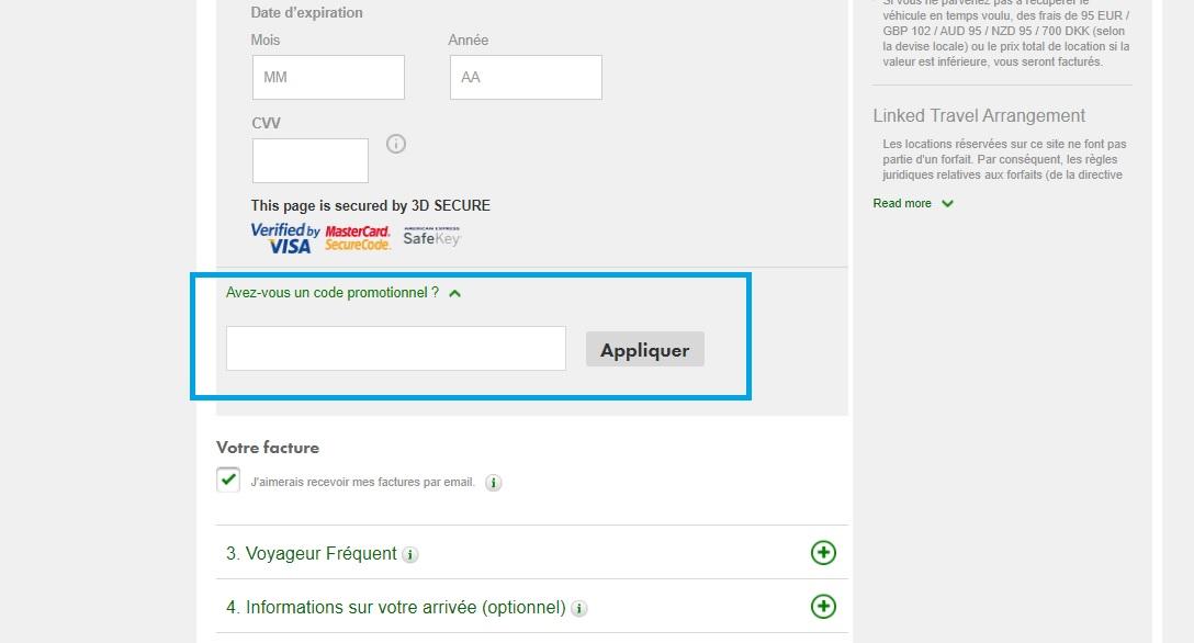 Où mettre un code promo Europcar valide ?