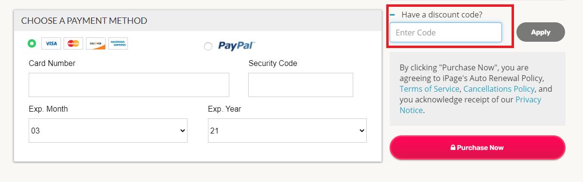 Où mettre un code promo iPage valide ?