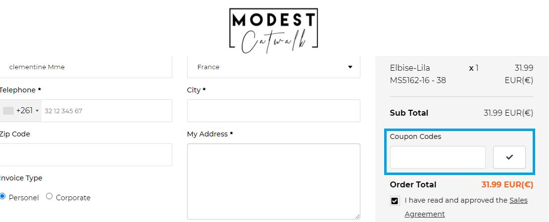 Comment utiliser un code promo Modest Catwalk valide ?
