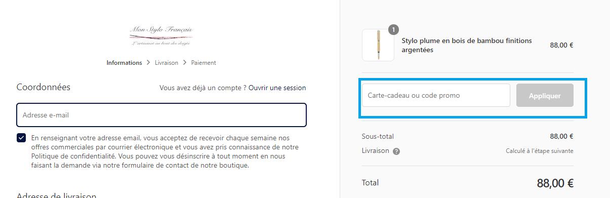 Comment utiliser un code promo Mon Stylo Français valide ?