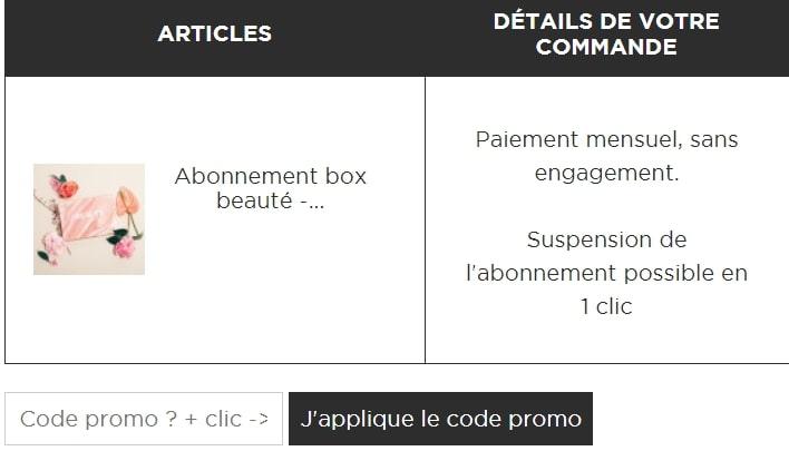 Où mettre un code promo Beautiful Box?
