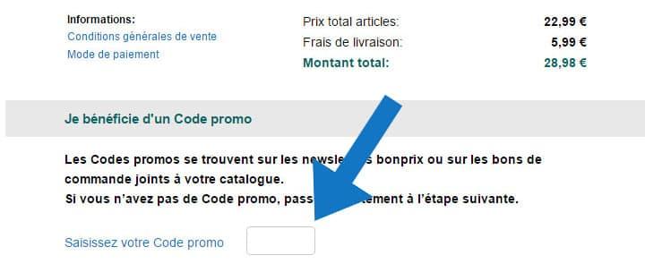 Où mettre un code promo Bonprix ?