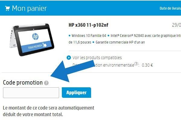 Où mettre un code promo HP ?