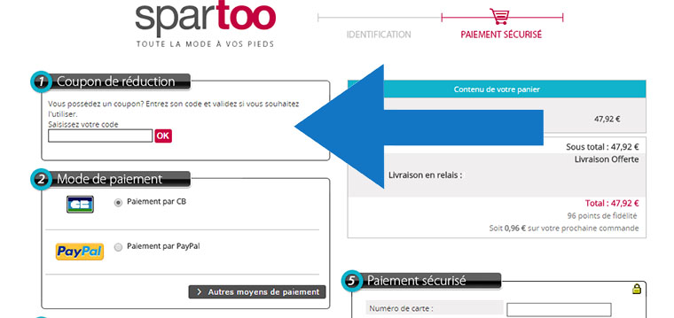 Où mettre un code promo Spartoo ?