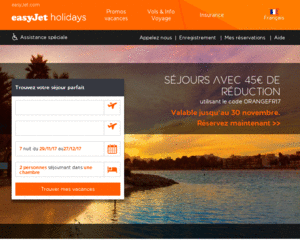 Vue accueil Easyjet Holidays